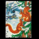 SQUIRRELS IN THE SNOW RUSSIAN LANGUAGE NEW YEAR CHRISTMAS CARD