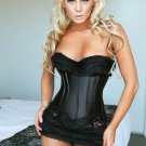Black Stain Corset with Mini Skirt & Thong Small