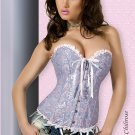6XL Blue Brocade Corset with Thong Plus Size