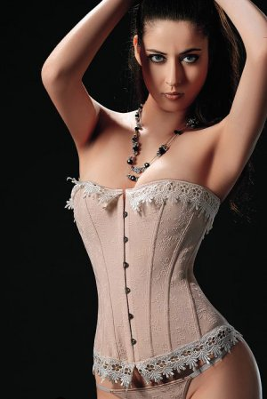 6XL Beige Brocade Corset with Thong Plus Size