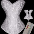 White Brocade Steel Boned Corset Small