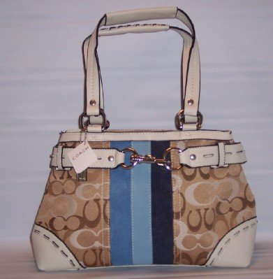 NYC TAN CARRYALL WITH BLUE STRIPES & WHITE TRIM