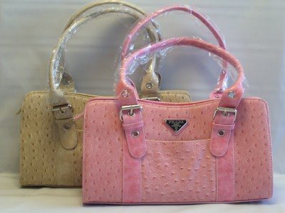 OSTRICH SHOULDER HANDBAG IN 4 COLORS WITH MATCHING WALLET