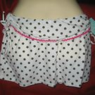 NWT Aqua Brand Cover-up skirt,white with olive Polka Dots/Pink Trim $72 SZ: XS-S
