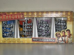 Hangover Pint Glass Set of 4 - 16 oz. New in Box.
