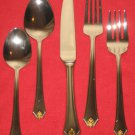 TOWLE SILVERSMITHS 18/8 STAINLESS GOLDEN COPELY SQUARE 5PC PL, SET NEW IN BOX.