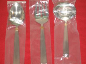 "REED & BARTON LUXURY18/8 STAINLESS ""GOLDEN CRESCENDO"" 3-PC SERVE SET NEW IN BOX."