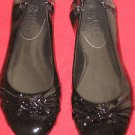 FRANCO SARTO L-ASTRA BLACK PATENT LEATHER FLATS SHOES SZ:61/2M,7M,8M           .