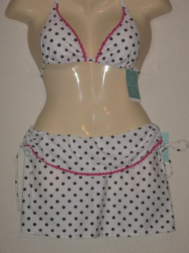 NWT 2Pc swimsuit Cover-up skirt,white with olive Polka Dots/Pink Trim $124  XS-S