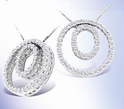 1/4Ct. Double Circle Diamond Pendant in 14K White Gold