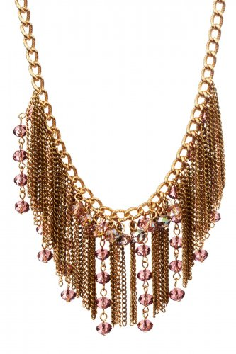 Olivia Welles Fringe & Crystal Beaded Bib Necklace