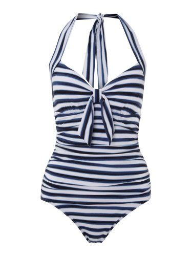 Seafolly Seaview Tie Front Halter Maillot - Indigo, Small 6/US, BNWT