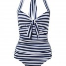 Seafolly Seaview Tie Front Halter Maillot - Indigo, Extra Small 4/US, BNWT