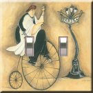 Fat Chef on Bicycle 2 Double Switchplate Cover