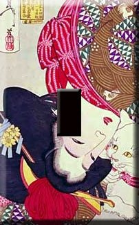 Geisha Girl Decorative Single Switchplate Cover