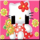Hello Kitty in Pink Handcrafted Double Switchplate Cover