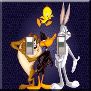 Looney Tunes #3 Handcrafted Double Switchplate Cover
