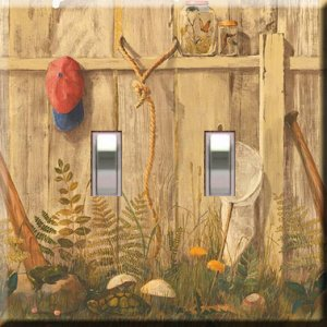 Little Boy's Fence Handcrafted Double Switchplate Cover