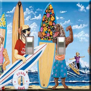 Surfin' Dawgs Handcrafted Double Switchplate Cover