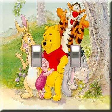 Winnie the Pooh & Gang Handcrafted Double Switchplate Cover
