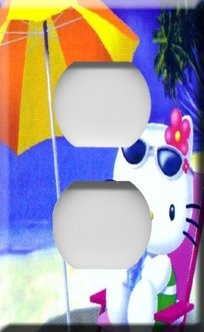 Hello Kitty on the Beach Handcrafted Outlet Cover