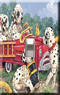 Dalmations with Firetruck Handcrafted Single Switchplate Cover