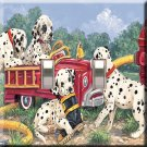 Dalmations with Firetruck Handcrafted Double Switchplate Cover