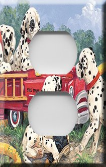 Dalmations with Firetruck Handcrafted Outlet Cover