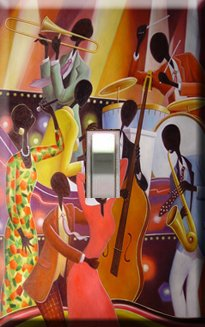 African American Jazz Art Handcrafted Single Switchplate Cover