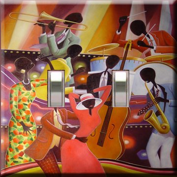 African American Jazz Art Handcrafted Double Switchplate Cover