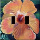 Hibiscus Painting Handcrafted Double Switchplate Cover