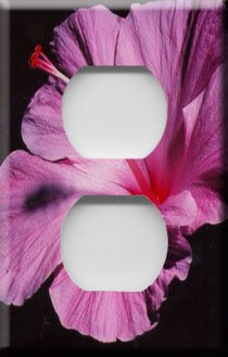 Purple Hibiscus Handcrafted Outlet Cover