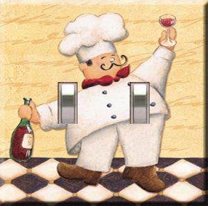 Kitchen Chef w/Wine Handcrafted Double Switchplate Cover