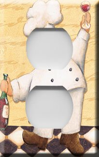 Kitchen Chef w/Wine Handcrafted Outlet Cover