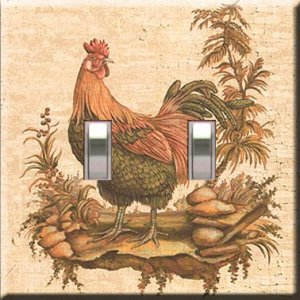 Kitchen Rooster Handcrafted Double Switchplate Cover