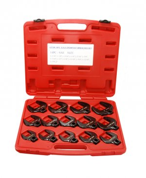 """14pc 1/2"""" Drive SAE Crow Foot Open End Wrench Tool Set"""
