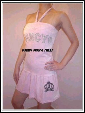 NWT Authentic Pink Juicy Couture Velour Halter Dress Size Large