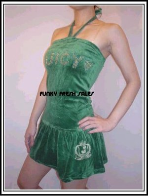 NWT Authentic Green Juicy Couture Velour Halter Dress Size Small