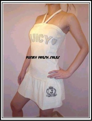 NWT Authentic White Juicy Couture Velour Halter Dress Size Large