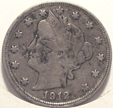 "1912 Liberty ""V"" Nickel Full LIBERTY Fine Details #0111"