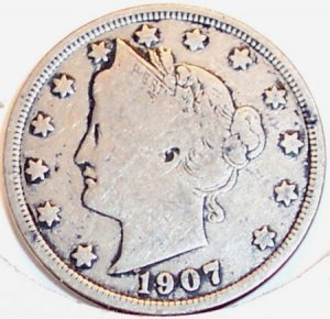 1907 Liberty Head Nickel Partial Liberty VG #116