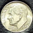 1947 Silver Roosevelt Dime GEM BU Frosty! FREE SHIPPING#119