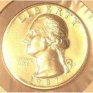1987-P Washington Quarter GEM BU #0196