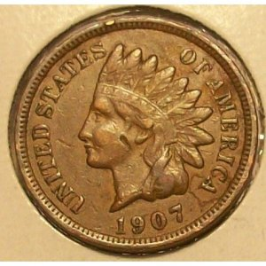 1907 Indian Head Penny F12 FULL LIBERTY #270