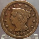 1847 Large Cent Braided Hair F12 FREE SHIPPING #411