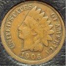 1906 Indian Head Cent F12 FULL LIBERTY #0621