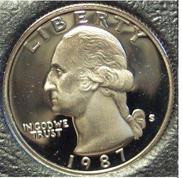 1987-S Deep Cameo Clad Proof Washington Quarter #0939