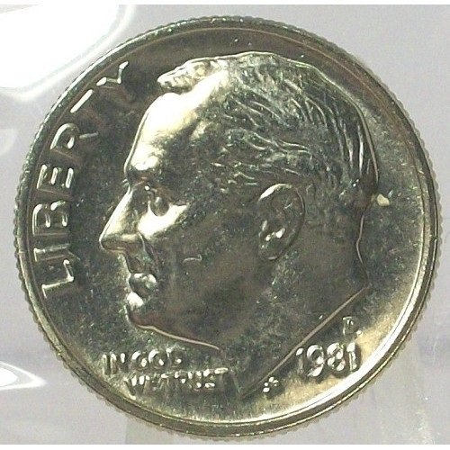 1981-P Roosevelt Dime BU with FULL BANDS In the Cello #0563