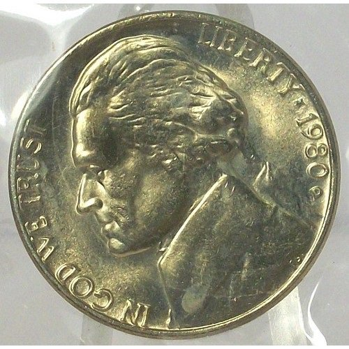 1980-D Jefferson Nickel MS65 In the Cello #566