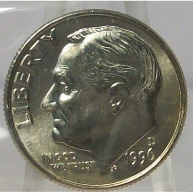 1996-D Roosevelt Dime GEM BU MS65 in the Cello #765